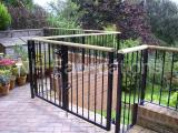Ref: GT025 Powder Coated Patio Metal Gates and Fencing with Wooden top can be stained to customers requirements Stalaybridge